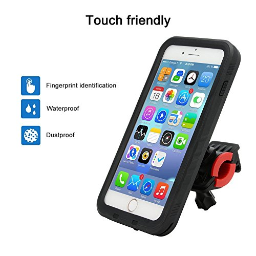 zantec bicycle phone mount with waterproof case fully enclosed bike phone holder fingerprint identification bracket navigation support for iphone 7 plus 5.5 inch black