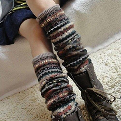 Yuhemii Nieuwe Mode Vrouwen Winter Warm Lange Been Warmers Brei Haak Sokken Legging Kousen(Khaki)
