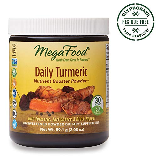 MegaFood, Daily Turmeric Nutrient Booster Powder, Post-Exercise Recovery, Gluten Free, Vegan, Unsweetened, 2.08 oz (30 Servings) (FFP)