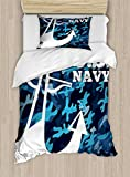 Lunarable US Navy Duvet Cover Set Twin Size, Uniform Design with Camouflage Style Blue Toned Background and Anchor, Decorative 2 Piece Bedding Set with 1 Pillow Sham, Dark Blue White Blue