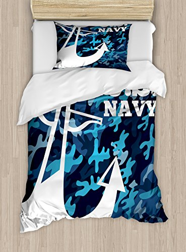 Lunarable US Navy Duvet Cover Set Twin Size, Uniform Design with Camouflage Style Blue Toned Background and Anchor, Decorative 2 Piece Bedding Set with 1 Pillow Sham, Dark Blue White (Camouflage Pillow Sham)