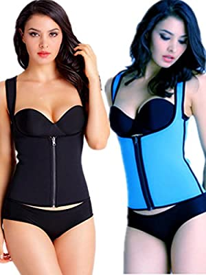iSZEYU Neoprene Waist Trainer Vest with Zipper for Weight Loss Black Blue XS-8XL