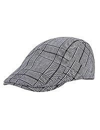 Gemvie Men's Retro Plaid Beret Hats Newsboy Cap Strip Cabbie Hat Flat Cap