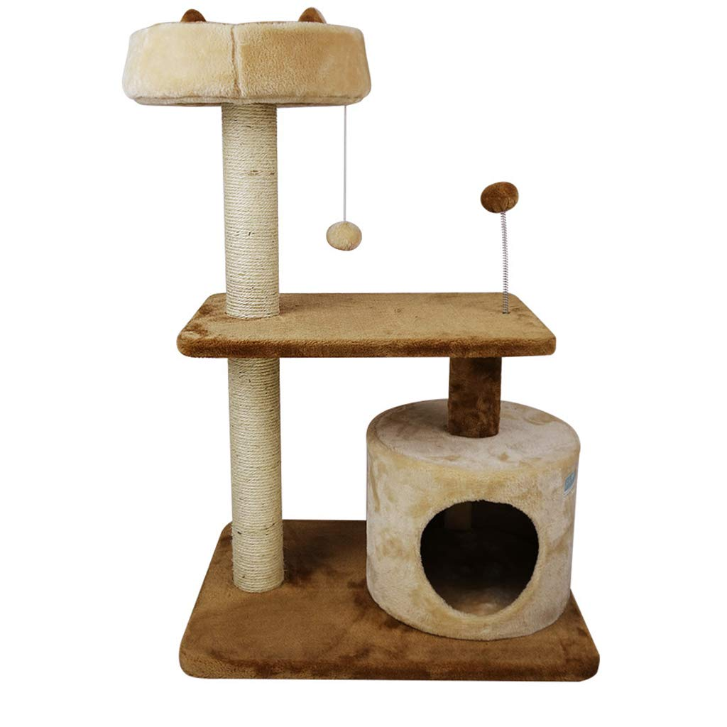 Cat Trees Cat Climbing Frame, Short Plush Fabric Sisal Cat Tree Tower Wear and Scratch Resistant (Brown) Cat Houses