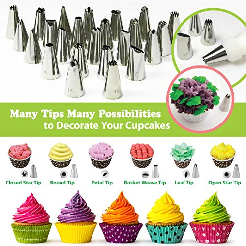 Cake Decorating Supplies Kit with Cake Turntable - Baking kit - Silicone Offset Spatula - Pastry Bags - Icing Tips - Cupcake Decorating Kit with Easy Nozzle Set - Professional Tools for Beginners by Happy Hour Bake (Image #4)