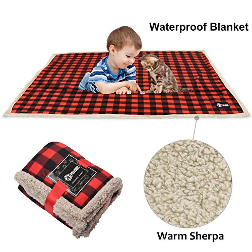 - Waterproof Dog Blanket,Premium Pet Puppy Cat Soft Fleece Sherpa Throws Blanket Cushion Mat for Car Seat Furniture Protector Cover Small 50