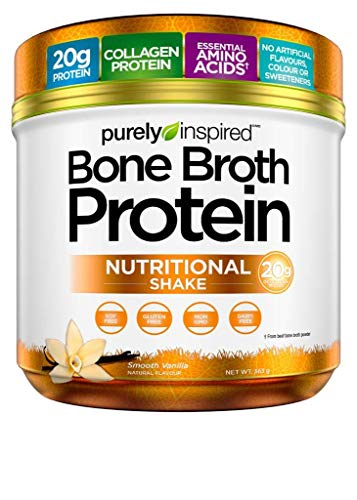 Purely Inspired Bone Broth Protein Powder, 20g Collagen Protein, Essential Amino Acids, No Sugar, No Carbs, Smooth Vanilla, 15 Servings (0.8lbs)