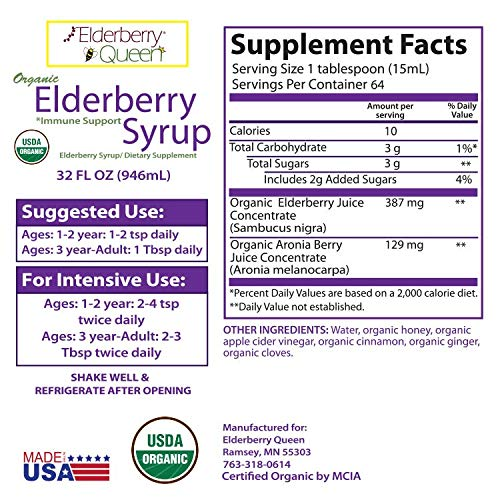 Organic Elderberry Liquid Syrup by Elderberry Queen- Sambucus, Aronia Berry, Pure Natural Certified Organic Immune Support Herbal Supplement (32oz) by Elderberry Queen (Image #3)