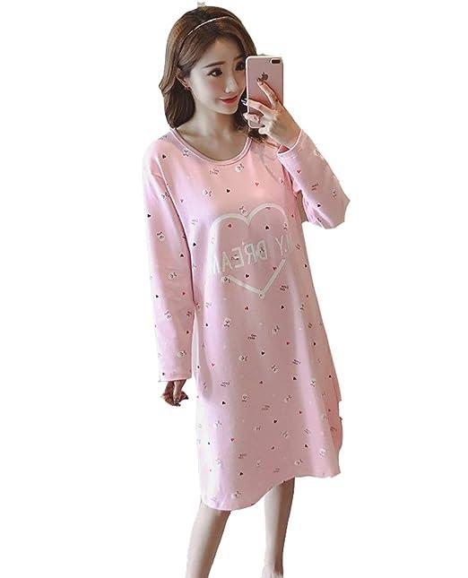 DSJJ Pijamas de Las Mujer de otoño de Manga Larga de algodón Suelta Ropa de Dormir