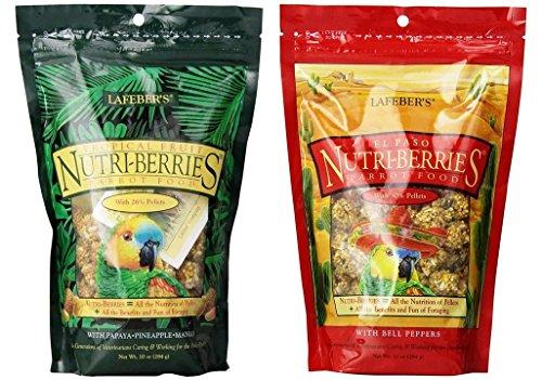Lafeber's Nutri-Berries Parrot Food 2 Flavor Variety Sampler Bundle: (1) Tropical Papaya/Pineapple/Mango, and (1) El Paso with Bell Peppers, 10 Oz. Ea. (2 ()