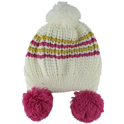 Baby Girls Boys Cute Warm Two Balls Wool Knitted Caps Toddlers Children Hat (white)