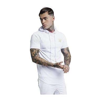 Sik Silk Camiseta con Capucha Blanco y Detalle Oro: Amazon
