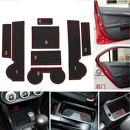 8pcs Custom Fit Cup Holder and Door Liner Accessories Fits For Mitsubishi Lancer EX Sport 2008-2015 .