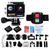 Campark® 4K WiFi Ultra HD Waterproof Sports Action Camera,RF Wrist Remote Control,Time Lapse,Burst Photo,Independent Apps for iOS and Android,2pcs batteries included