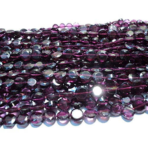 Garnet Lot - Garnet Faceted Coin Ronedelles - 5mm Each - 14 Inch Strand