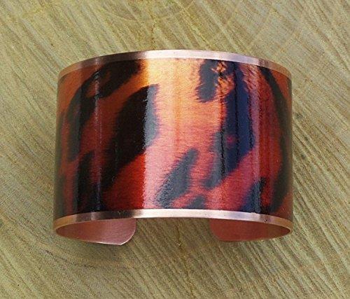 Tiger Striped Copper Cuff Bangle Bracelet Handmade Adjustable in Gift Box ()