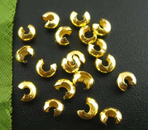 PEPPERLONELY 200pc Gold Plated Crimp Bead Covers Findings 5mm(1/4