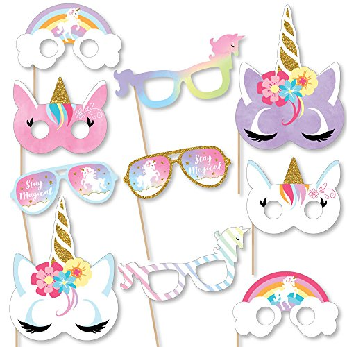 (Big Dot of Happiness Rainbow Unicorn Glasses & Masks - Paper Card Stock Magical Unicorn Baby Shower or Birthday Party Photo Booth Props Kit - 10)