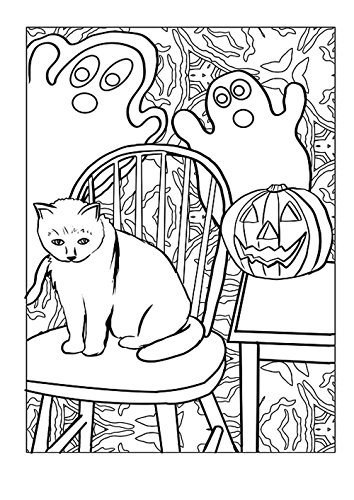 Gifts Delight Laminated 24x34 inches Poster: Cat Ghost Pumpkin Halloween Artwork Coloring Page Coloring Drawing ()