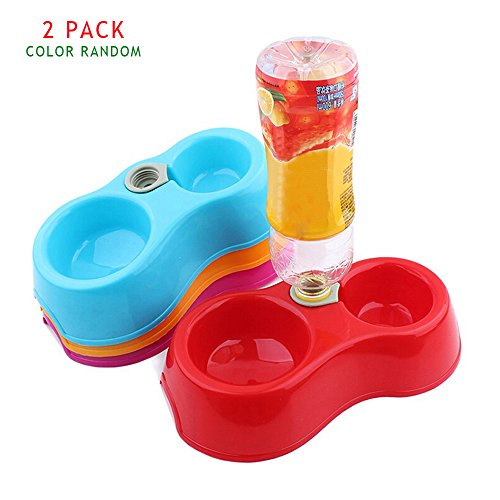 Geekercity Pet Dog Cat Double Diner Food Water Bowl Cat Drinking Fountain Food Automatic Water Dish Pet Dispenser Feeder Dual Port Dog Automatic Water Bowl