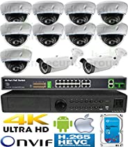 USG H.265 Sony Chip 5MP Ultra 4K 11 Camera Security System IP CCTV Kit : 11x 5MP IP PoE 2.8-12mm Lens Dome + Bullet Cameras + 1x 5MP 24 Channel NVR + 1x 4TB HDD + 1x 18 Port PoE Switch : View On Phone