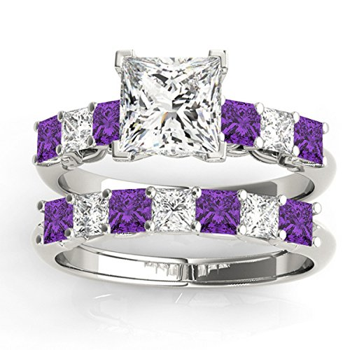 Princess cut Diamond and Amethyst Bridal Set Setting with Wedding Band Palladium 2.20ct