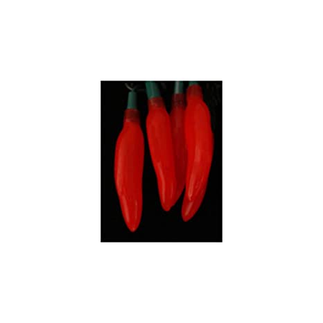 set of 20 everglow red chili pepper novelty christmas lights green wire