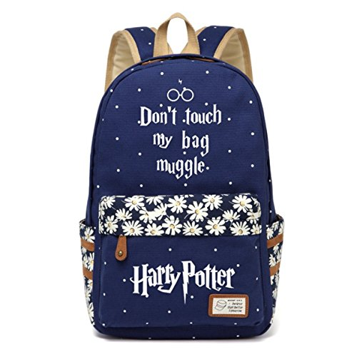 AUGYUESS Canvas School Bag Rucksack Daypack Bookbag Laptop Bag Backpack for Harry Potter Cosplay (Dark Blue 3)