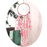 Large Dream Catcher Pink Handmade Dream Catchers Circular Net with Feather Wall Hanging