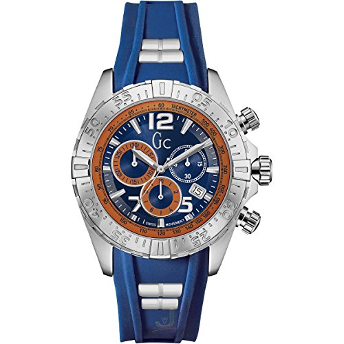 Guess Y02010G7 Men's Sport Racer Blue & Orange Dial Chrono Watch