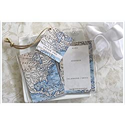 Janine Lea Swan designs 30 North American Map Luggage Tag Favors 1.50 ea.