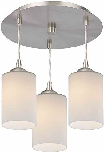3-Light Semi-Flush Light with White Glass – Nickel Finish