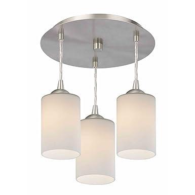 3-Light Semi-Flush Light with White Glass – Nickel Finish