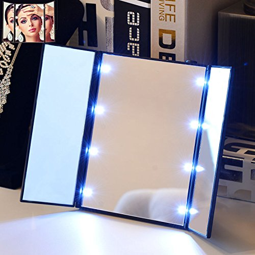 Vanity Folding Travel Illuminated Make Up Dressing Desktop Mirror W/ 8 LED Light Foldable Tri-sided Lighted Beauty Vanity LED Makeup Cosmetic Square Shape Mirror free shiping