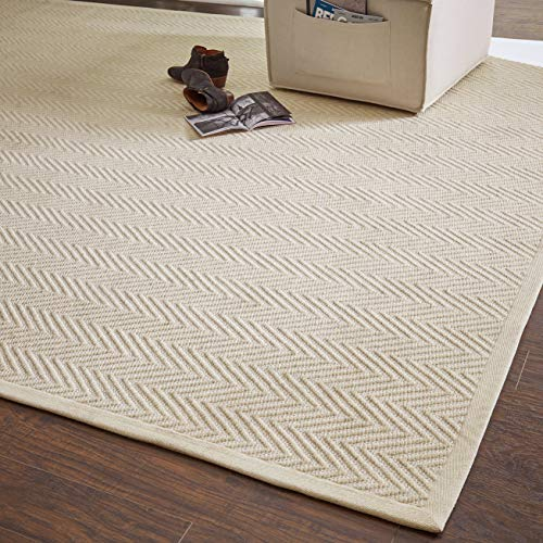 Rivet Elevated Chevron Patterned Area Rug, 8 x 10 Foot, Cream