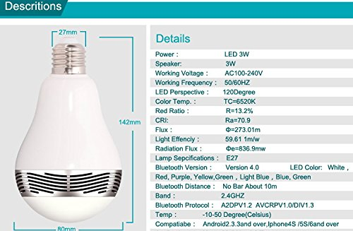 Cqm Bluetooth Color Changing Led Light Bulb With Speaker