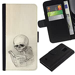 NEECELL GIFT forCITY // Billetera de cuero Caso Cubierta de protección Carcasa / Leather Wallet Case for Samsung Galaxy S5 Mini, SM-G800 // Baudelaire Esqueleto
