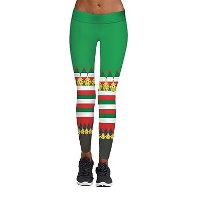 CHENGYANG Femmes Vintage Noël Imprimé Leggings Fitness Yoga Stretch Moulant  Pantalon de Sport (Vert  f4c1750d7e8