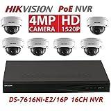 Hikvision Combo Kit DS-7616NI-E2/16P 16CH POE NVR & 3pcs DS-2CD2142FWD-I 2.8mm & 3pcs DS-2CD2142FWD-I 4.0mm 4MP POE Dome Camera Kit