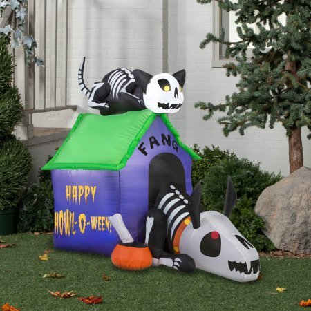 Gemmy Airblown Inflatable 3.5' X 4.5' Skeleton Dog and Cat Halloween Decoration
