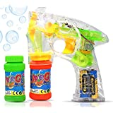 Haktoys Regular Transparent Bubble Gun Shooter Light Up Blower Machine | Bubble Blaster for Kids, Parties, Etc. - with LED Flashing Lights, Extra Refill Bottle, Sound-Free (Batteries Included)