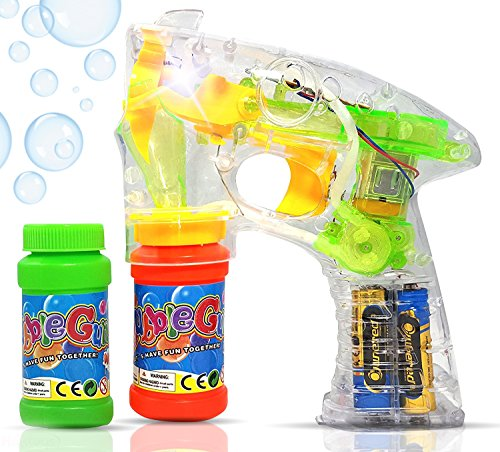 Haktoys Transparent Bubble Gun Shooter Light Up Blower Machine | Bubble Blaster for Kids, Parties, Etc. - with LED Flashing Lights, Extra Refill Bottle, Sound-Free (Batteries Included)