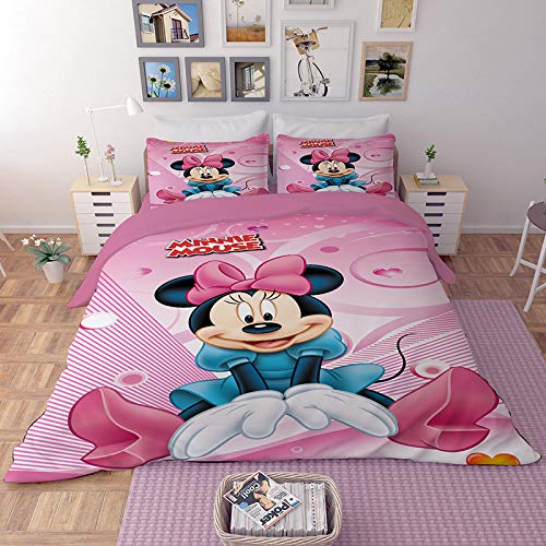 EVDAY Sweet Pink Minnie Duvet Cover Set for Girls Bed Set Including 1Duvet Cover,2Pillowcases King Queen Full Twin Size (Size Bedding Mouse King Minnie)