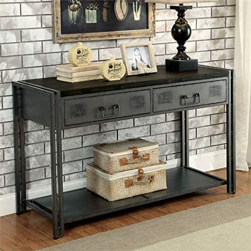 Furniture of America Amado Industrial Console Table in Gray Silver