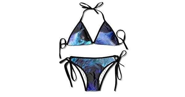 Amazon.com: vidrio de diamante lobo Bikini mujer bañadores ...