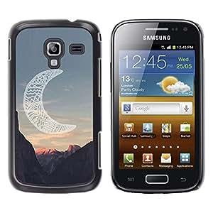 YOYOYO Smartphone Protección Defender Duro Negro Funda Imagen Diseño Carcasa Tapa Case Skin Cover Para Samsung Galaxy Ace 2 I8160 Ace II X S7560M - luna cañón indio americano nativo