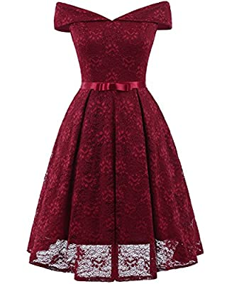 Lace Swing Dress for Wome Party Club Night Vintage Cocktail Dress V Neck