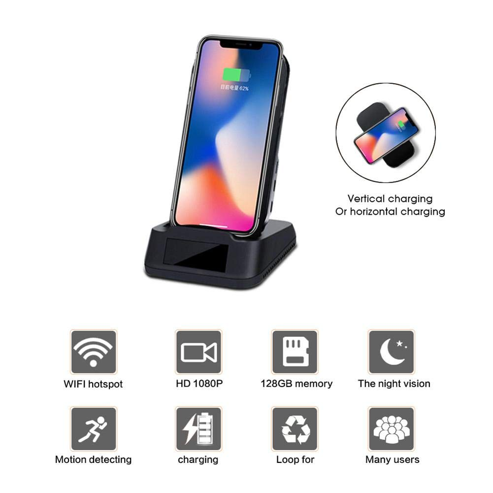 Jannyshop 1080P Indoor Camera with WiFi Fast Wireless Charge Motion Detection Night Vision for All Qi-Enabled Phones by Jannyshop (Image #3)