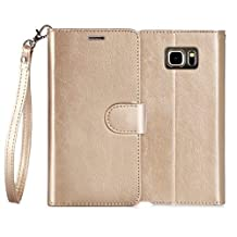 Samsung Galaxy Note 5 Case , FYY [Top-Notch Series] Premium Leather Case All-Powerful Cover for Samsung Galaxy Note 5 Gold