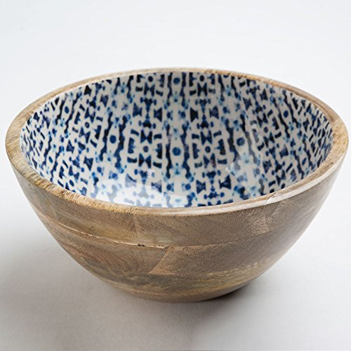 Enamel Mango (Jesse's Indigo Enamel Coated Mango Wood Medium Serving Bowl - 4.5 H x 9.5 diameter)